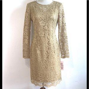 Nanette Lepore Gold Lace Dress Sz 6 NWT